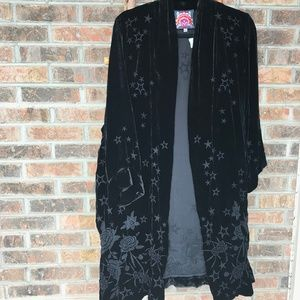 Johnny Was Black Kimono Roberta Star-Floral Velvet